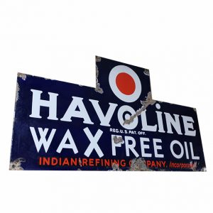 1930's Porcelain Single Sided Havoline Oil Sign