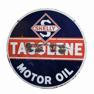 Skelly Double Sided Tagolene Motor Oil Sign-Red, White, Blue