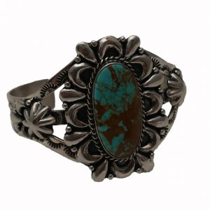 Signed Sterling Navajo Turquoise Cuff Bracelet