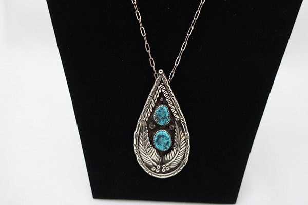 Vintage Signed Turquoise and Sterling Navajo Pendant necklace