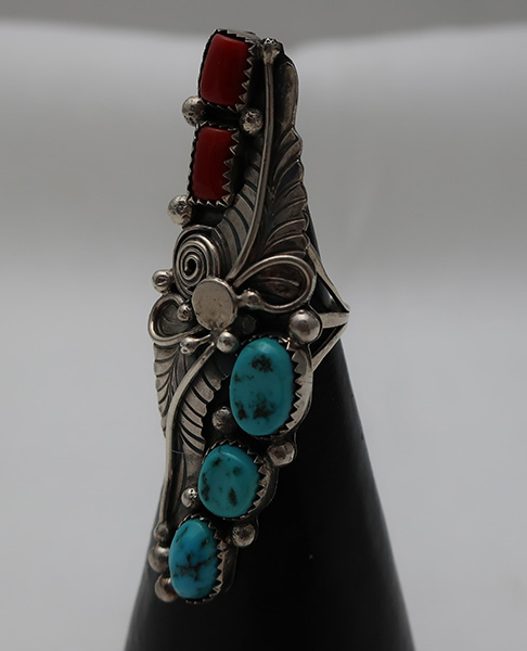 """Rare Vintage 2 ½"""" Elongated Sterling and Turquoise Navajo Hand Crafted Ring"""