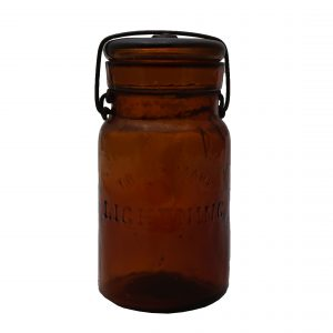 Antique Lightening Fruit Jar-Whittled Glass