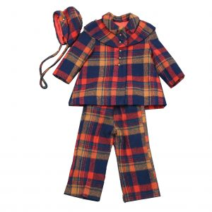 Vintage Child 3Pc. Plaid Wool Winter Outfit-Coat,Snowpants, Hat