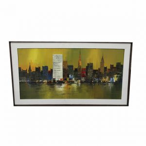 Midcentury Oil on Canvas Painting United Nations NYC Skyline