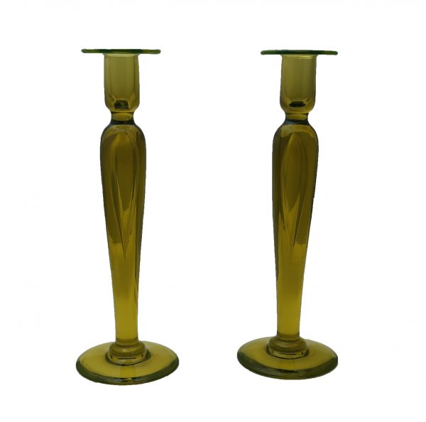 Pair of Art Glass Yellow Vaseline Candle Sticks