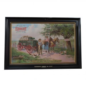 Early Tin Litho Sign Hickman Ebbert Wagons