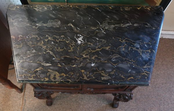 David Zork Galleries Chicago Marble Top Table-Hand Carved
