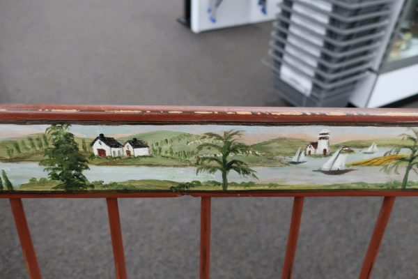 Antique Tavern Bench with Rufus Porter Painting on Back Spot