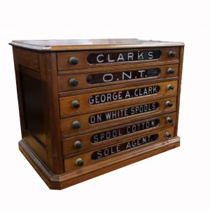 Clark's Spool Cabinet with Red Drawers
