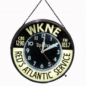 Vintage Red's Atlantic Service Bulova Clock-WKNE