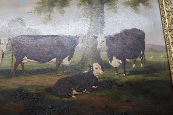 1849 Oil on Canvas Pastoral Cattle Painting-Signed H.J. Quintin