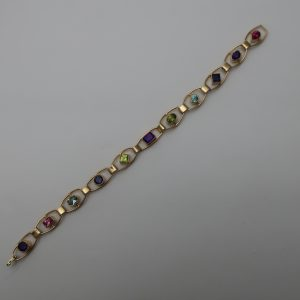 "14 K Gemstone Bracelet-8"" long- Christopher Jupp"