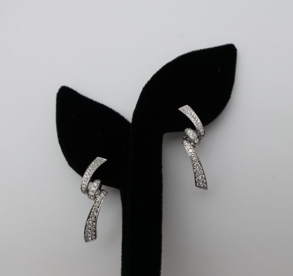 18K Diamond Curvy Earrings-1.5 carats