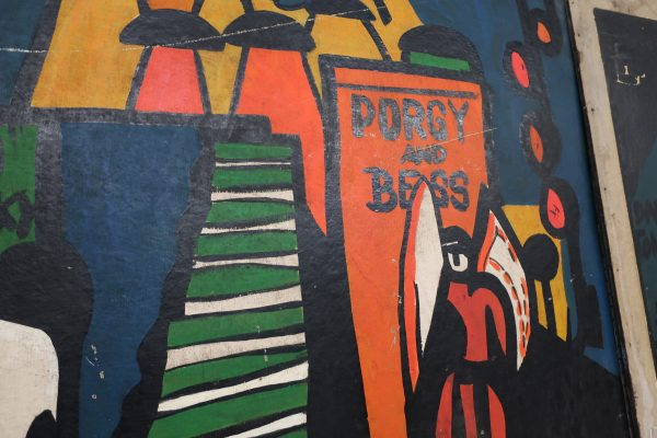"""Mid-Century """"Sho Bar"""" Porgy and Bess Wall Panel-Bright Artwork-68 1/2"""" wide"""