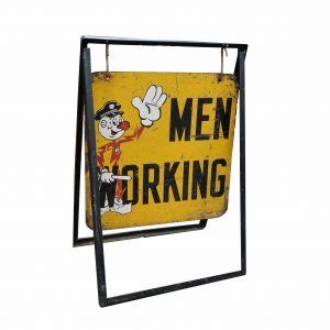"1950's Reddi Kilowatt Policeman ""Men Working"" Sign and Stand"