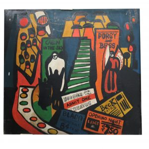 "Mid-Century ""Sho Bar"" Porgy and Bess Wall Panel-Bright Artwork-68 1/2"" wide"