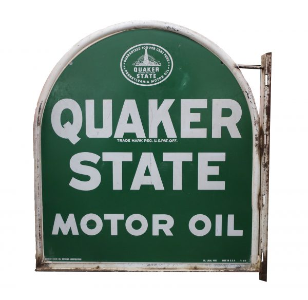 Vintage Large Quaker State Double Sided Flange Sign