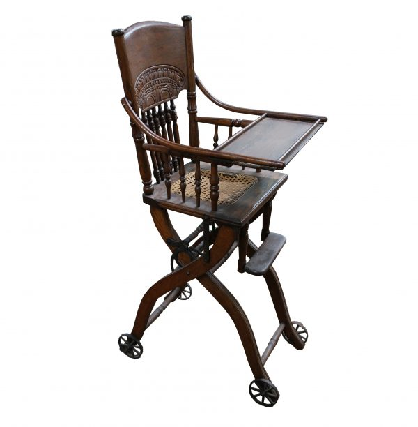 Antique Oak Baby High Chair with Wheels-Fold Down