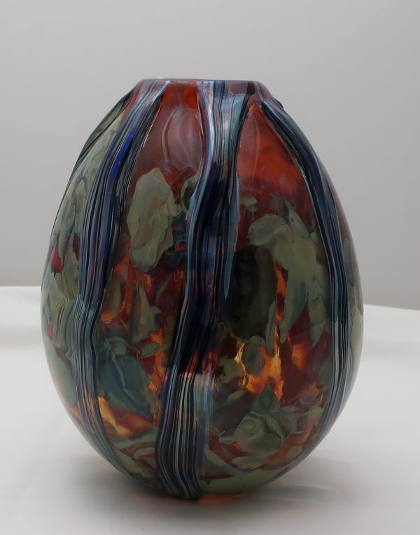Eikholt Glass Ribbonse Agate Vase-Red