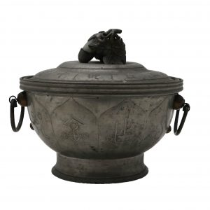 Chinese Pewter Warmer with Jade Insert