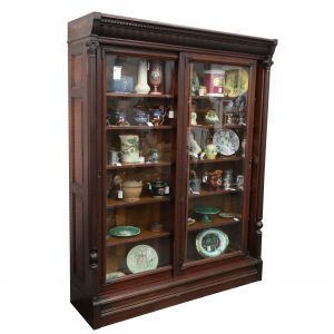 Walnut Victorian Bookcase-Glass Doors