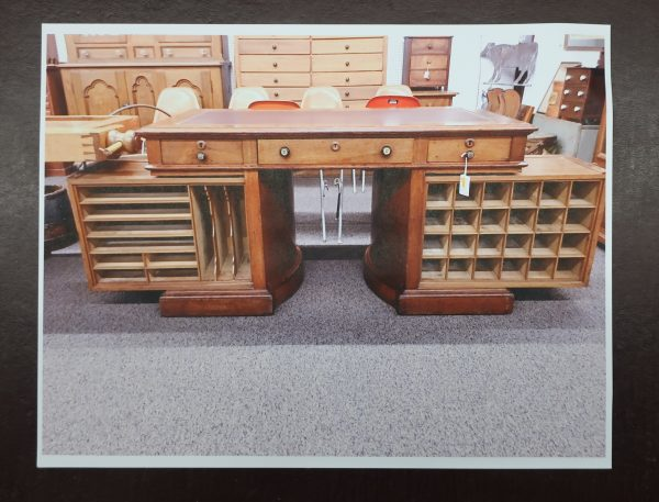 Rare Signed Walnut Wooten Rotary Desk with Leather Top