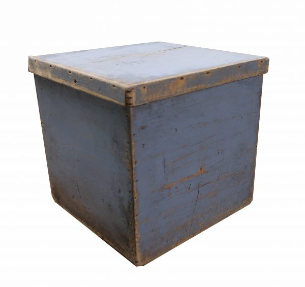 Hand Made Wooden Box with Lid-Old Blue Paint and Square Nails
