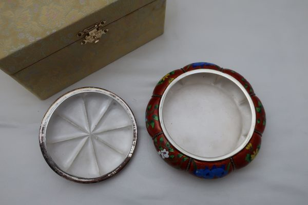 Korean 990 Silver and Enamel Box with Lid