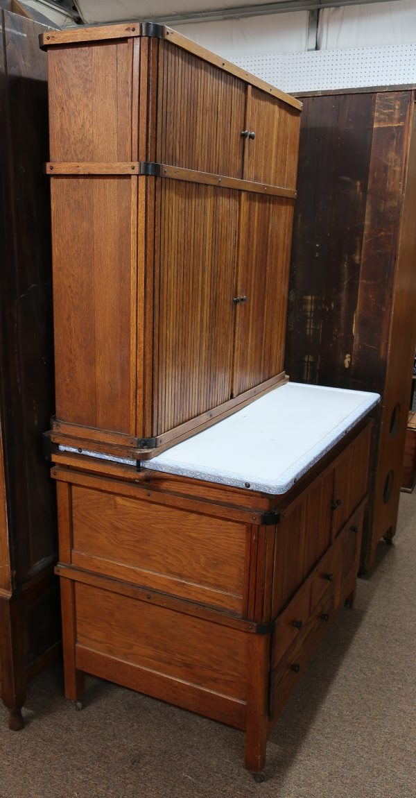 Rolling Doors Tippecanoe Cabinet Hutch with Pull Out Shelf