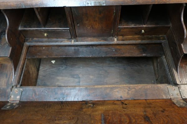 18th Century English Provincial Drop Front Desk-Oak and Maple