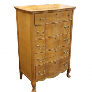 Tiger Maple Curved Front Tall Chest-5 Drawer