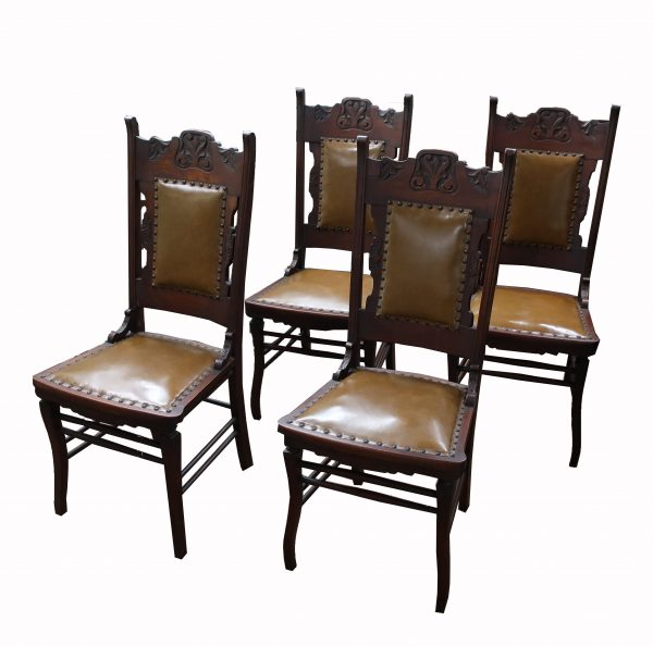 Set of 4 Walnut Carved Chairs-circa 1890