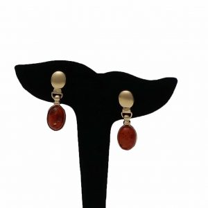 14K Amber Drop Earrings