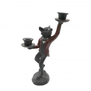 Austria Cold Painted Bronze Fox Candlestick