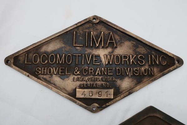 Pair of Brass Lima Locomotive Works Plaques