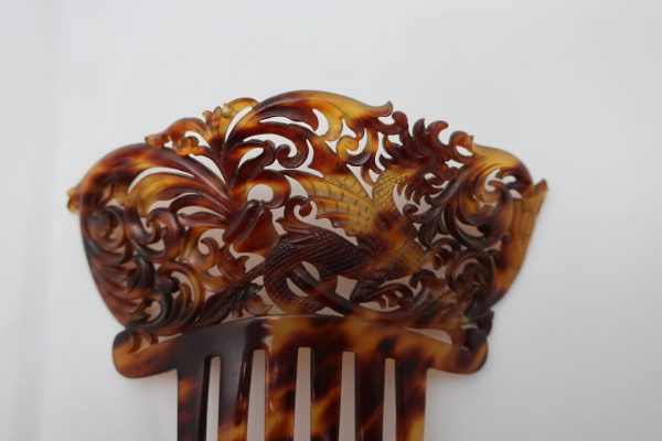 Vintage Carved  Hair Comb with Dragon