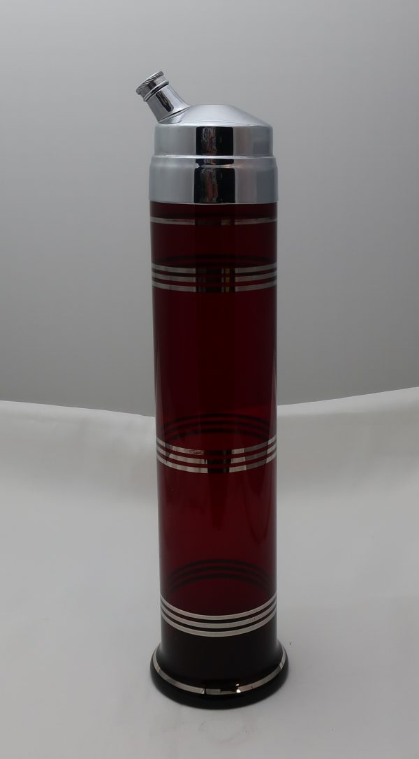 Ruby Red Skyscraper Cocktail Shaker with 6 Glasses