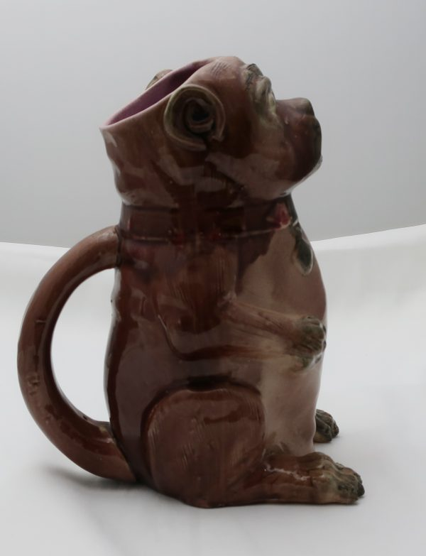 Early Majolica Pug Pitcher-10 3/4""