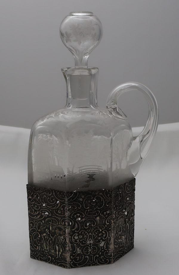 Scenic Etched Glass Decanter Hallmarked Silver Bottom