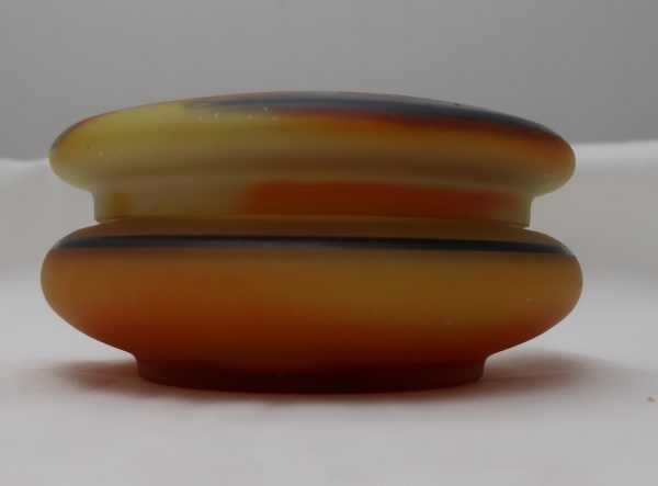 Painted Art Glass Dresser Box with Lid