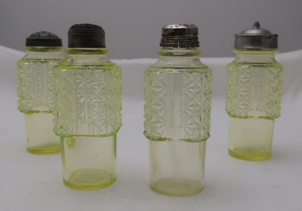 Vintage Vaseline Glass Condiment Set and Stand