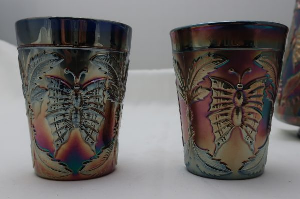 Antique Carnival Glass Pitcher and 2 Glasses