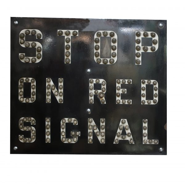 """Stop On Red Signal"" Porcelain Railroad Sign-140 Cat Eye Marbles"