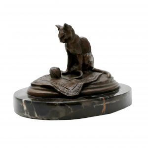 Signed E. Fremiet Bronze Statue-Cat on Rug