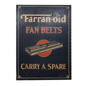 Vintage 1920's Farran-oid Fan Belt Sign