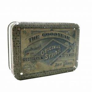Early 1900's The goodyear Rubber Co. Original Syringe Tin Litho Box