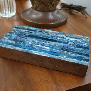 Mid Century Fused Glass Lidded Cigarette Box