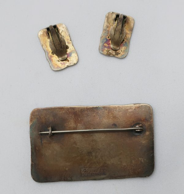 David Andersen Sterling Pin and Earring Set