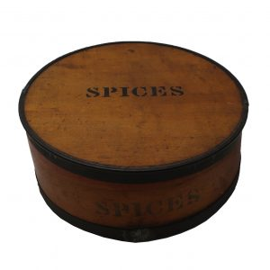Early Round Wooden Spice box with 8 Interior Canisters