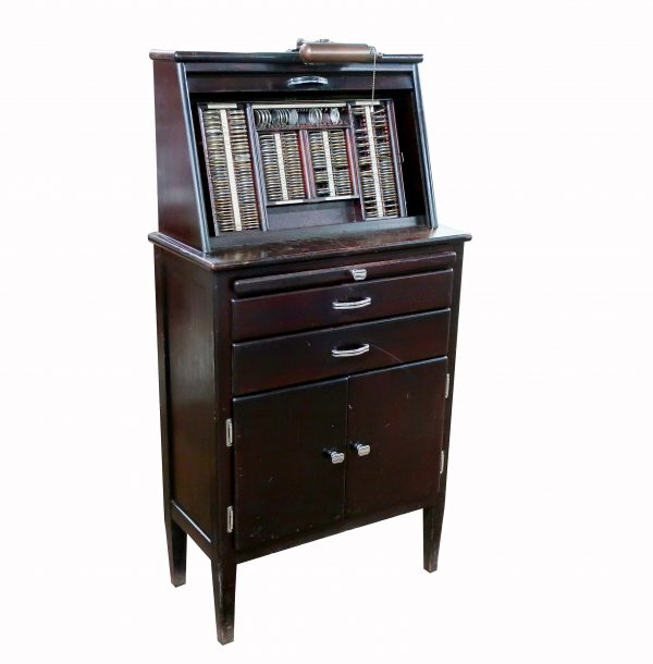 Vintage Optical Cabinet with Optical Exam Glasses